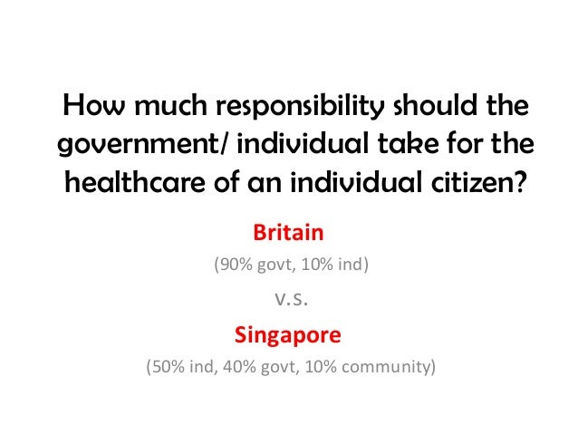 How much responsibility should thegovernment/ individual take for thehealthcare of an individual citizen?                 ...