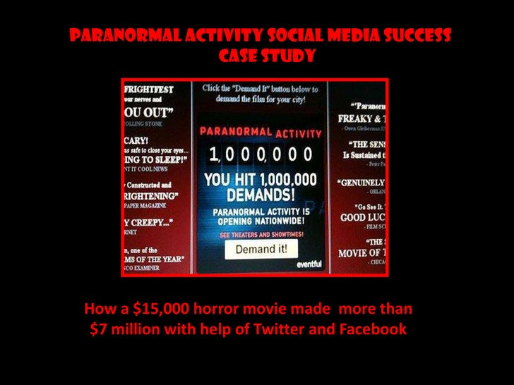 PARANORMAL ACTIVITY SOCIAL MEDIA SUCCESS <br />                                           CASE STUDY <br />How a $15,000 h...