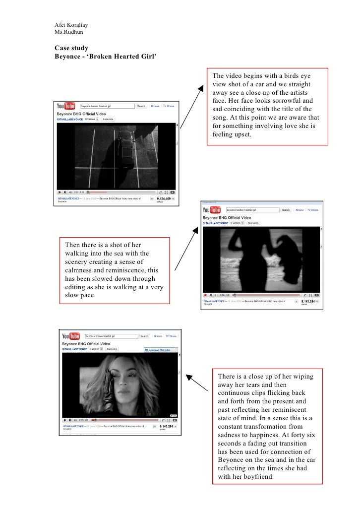 Afet Koraltay Ms.Rudhun  Case study Beyonce - 'Broken Hearted Girl'                                            The video b...