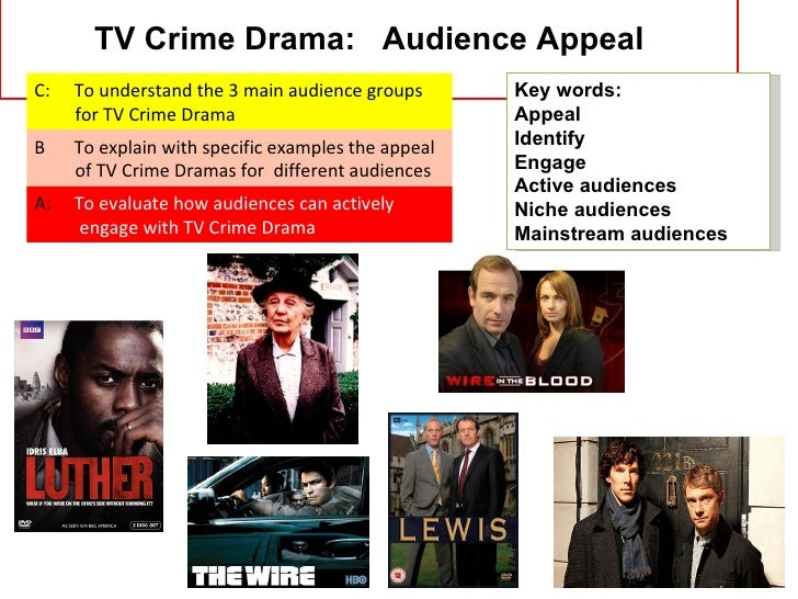 TV Crime Drama: Audience AppealC:   To understand the 3 main audience groups       Key words:     for TV Crime Drama      ...