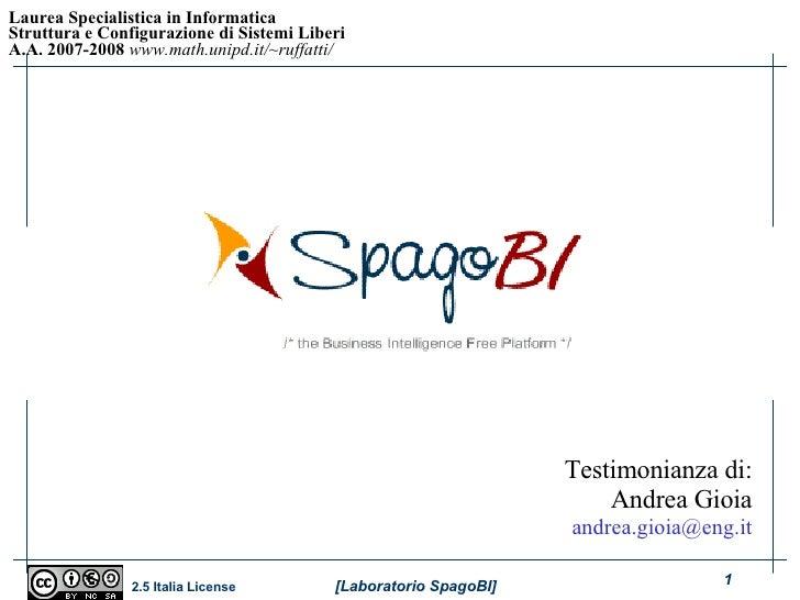 Corso sistemi aperti - Laboratorio - Case Study (SpagoBI)