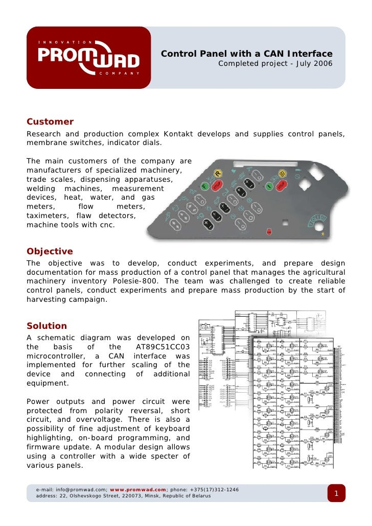 Control Panel with a CAN Interface                                                               Completed project - July ...