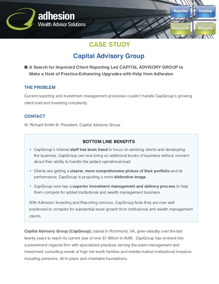 adhesion       Wealth Advisor Solutions                                        CASE STUDY                            Capit...