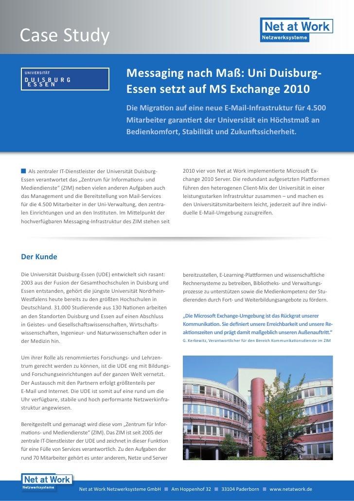 Case Study                                              Messaging nach Maß: Uni Duisburg-                                 ...