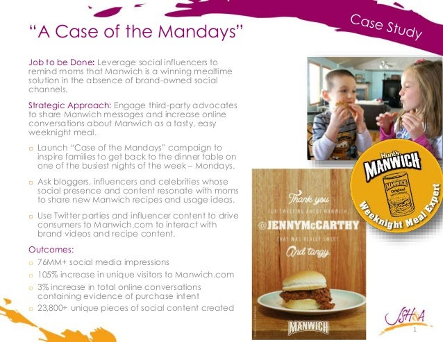 """A Case of the Mandays"" 1 Job to be Done: Leverage social influencers to remind moms that Manwich is a winning mealtime so..."