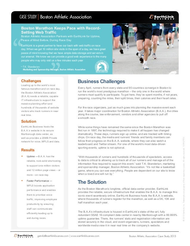 "CASE STUDY Boston Athletic Association Boston Marathon Keeps Pace with RecordSetting Web Traffic  ""  ""  Boston Athletic As..."