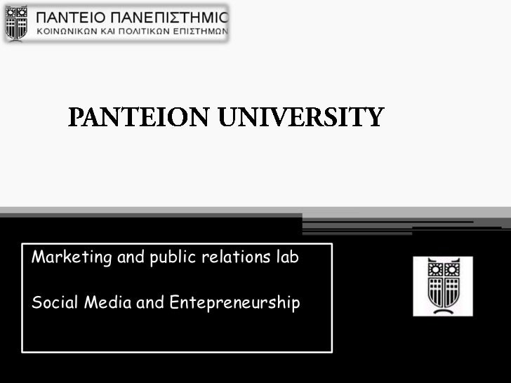 Marketing and public relations labSocial Media and Entepreneurship