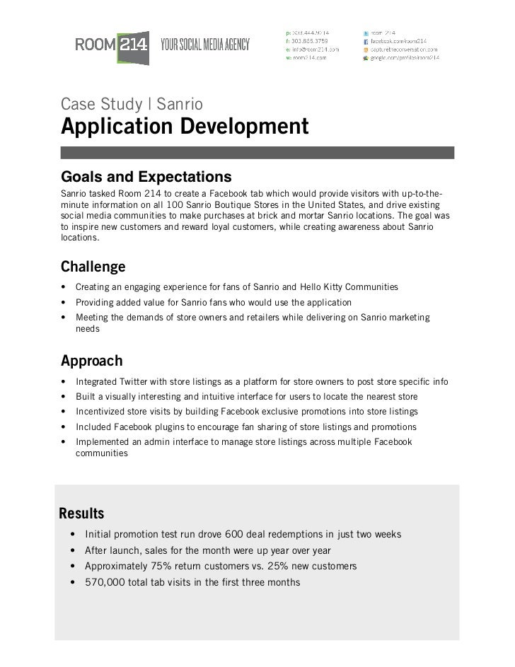Case Study | SanrioApplication DevelopmentGoals and ExpectationsSanrio tasked Room 214 to create a Facebook tab which woul...