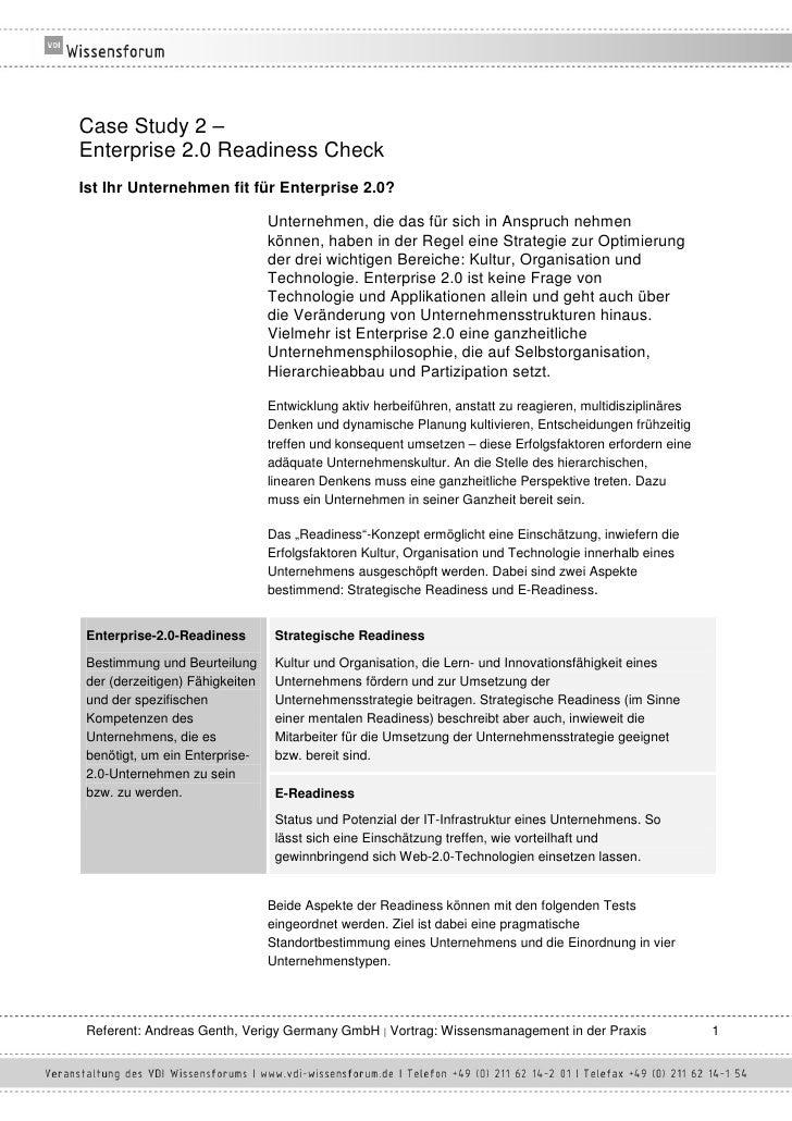 Case Study 2 – Enterprise 2.0 Readiness Check Ist Ihr Unternehmen fit für Enterprise 2.0?                                 ...