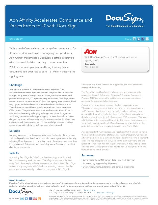 Aon Affinity Insurance DocuSign Case Study