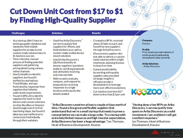Using Ariba Discovery to Find High-Quality Supplier: Koozoo Case Study