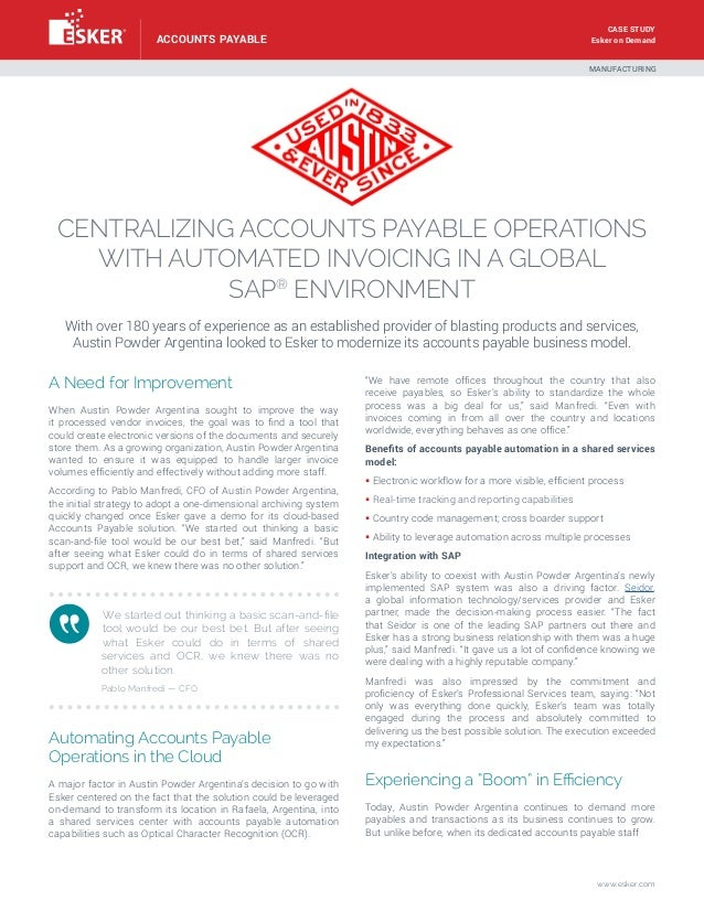 Austin Powder: Centralizing Accounts Payable Operations in a Global SAP® Environment