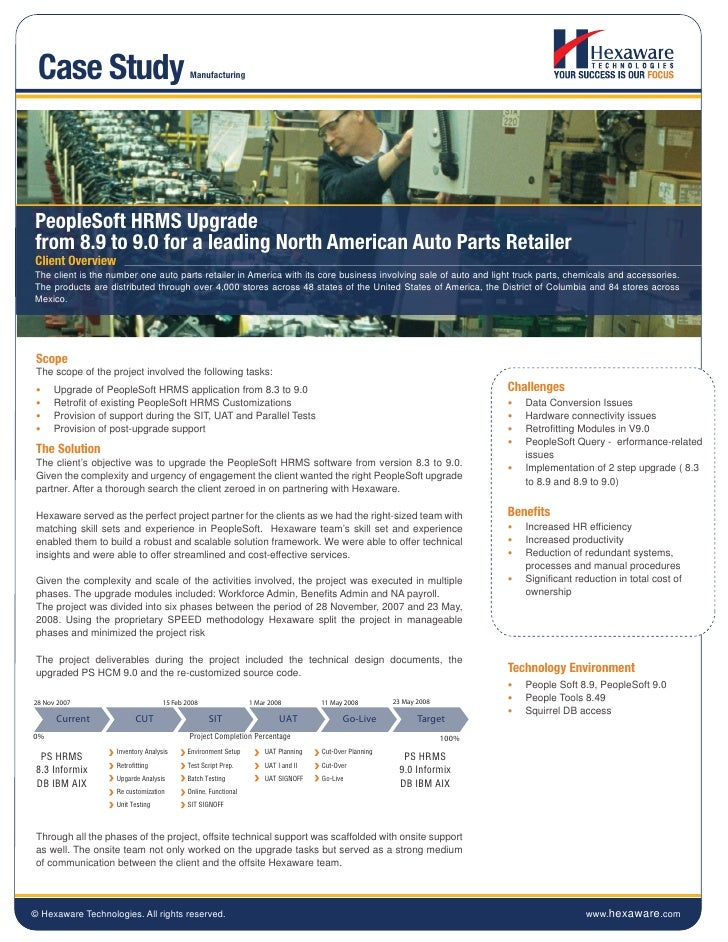 Case Study                                 ManufacturingPeopleSoft HRMS Upgradefrom 8.9 to 9.0 for a leading North America...