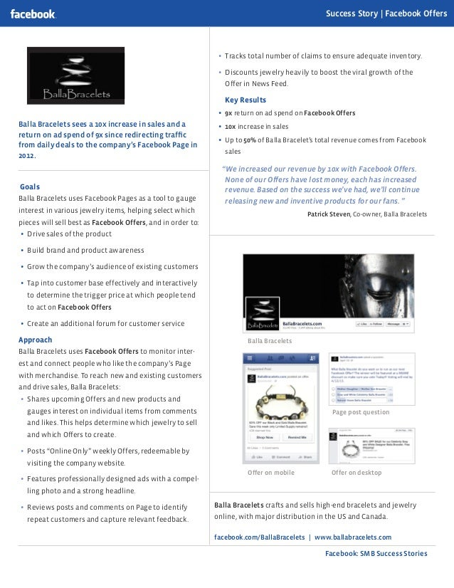 Facebook: SMB Success Stories Balla Bracelets sees a 10x increase in sales and a return on ad spend of 9x since redirectin...
