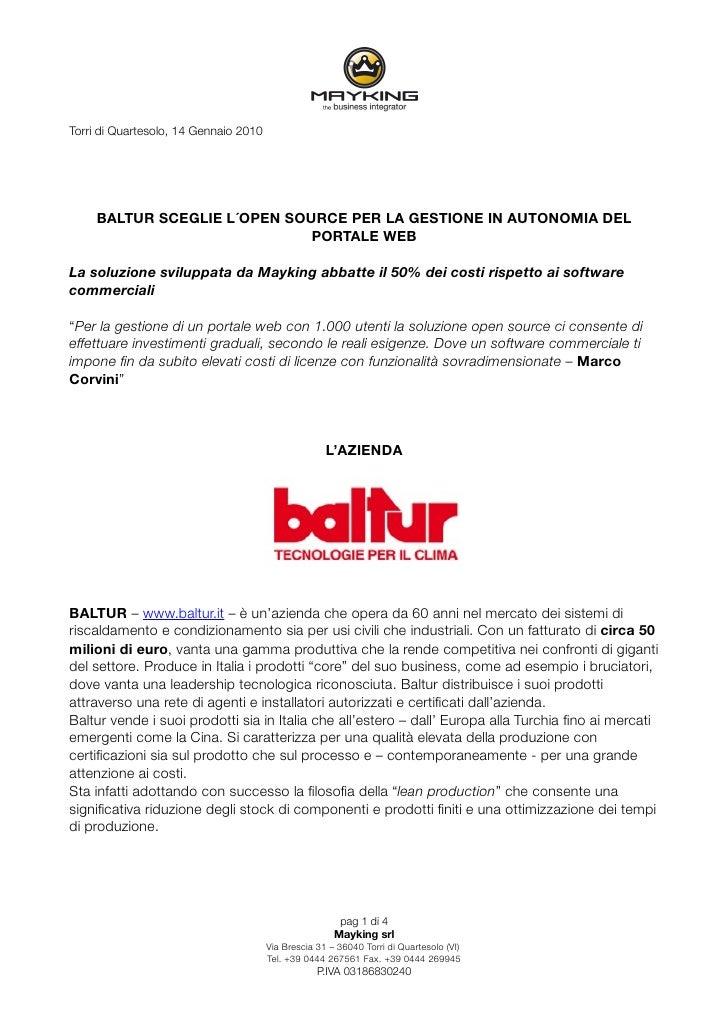 Torri di Quartesolo, 14 Gennaio 2010          BALTUR SCEGLIE L´OPEN SOURCE PER LA GESTIONE IN AUTONOMIA DEL               ...