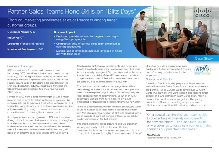 "Partner Sales Teams Hone Skills on ""Blitz Days""Cisco co-marketing accelerates sales call success among targetcustomer grou..."