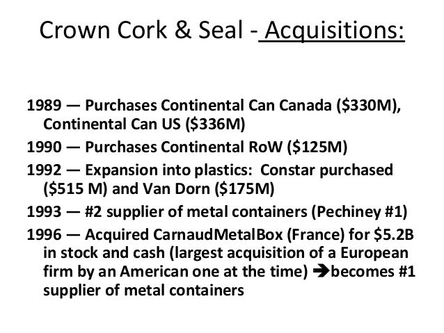 crown cork and seal case 1989 Case opinion for us 2nd circuit pt united can company ltd v crown cork seal company inc read the court's full decision on findlaw.