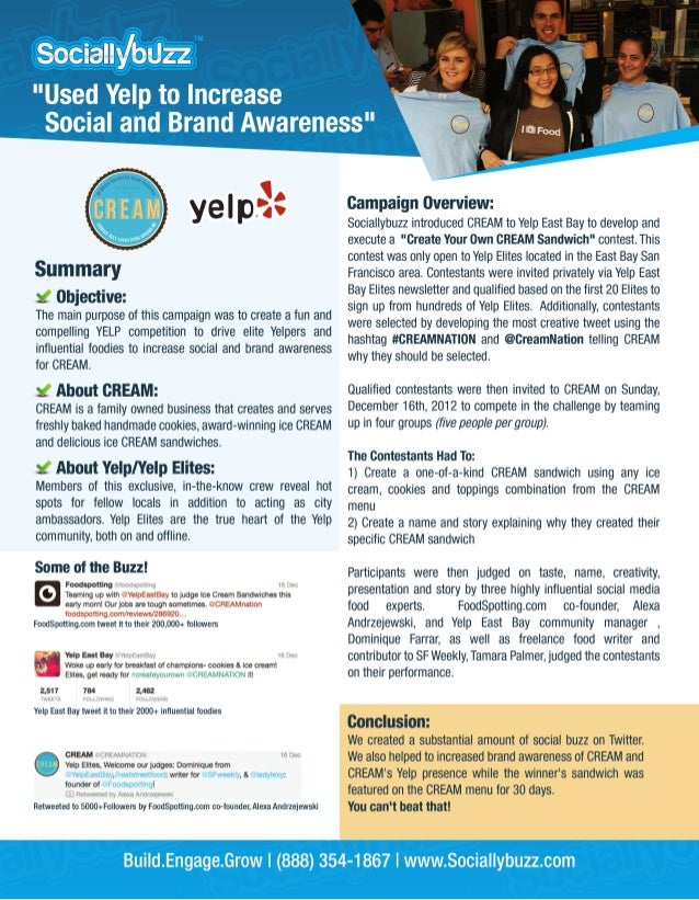 Yelp Case Study - Increase Social and Brand Awareness by @Sociallybuzz