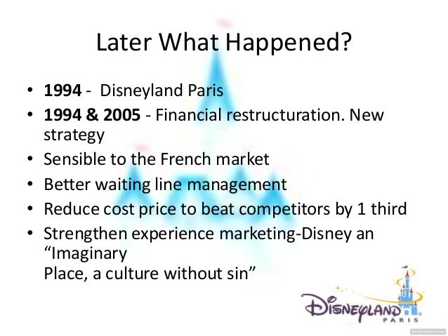 eurodisney failure essay Free essay: walt disney assumed that there would not be any problems with any of these critical factors because they had no problem in the united states or.