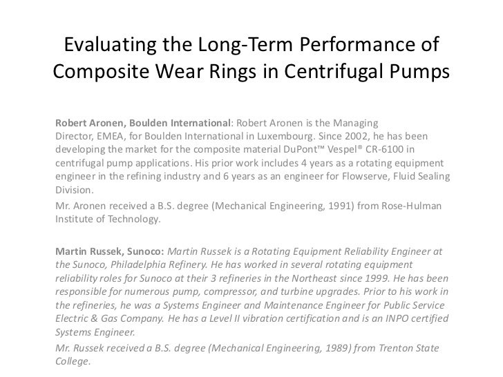 Case Study, Evaluating The Long Term Performance Of Composite Wear Rings In Centrifugal Pumps
