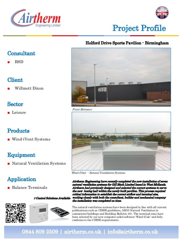 Project Profile Holford Drive Sports Pavilion - Birmingham  Consultant ■  BSD  Client ■  Willmott Dixon  Sector Front Entr...