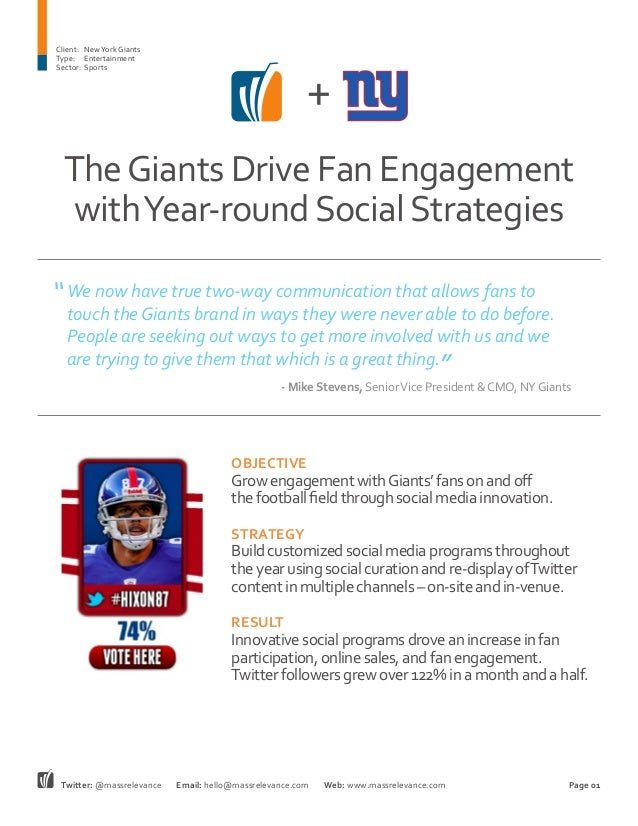 TheGiants Drive Fan Engagement withYear-roundSocialStrategies + Client:	 NewYork Giants Type:	Entertainment Sector:	Sports...