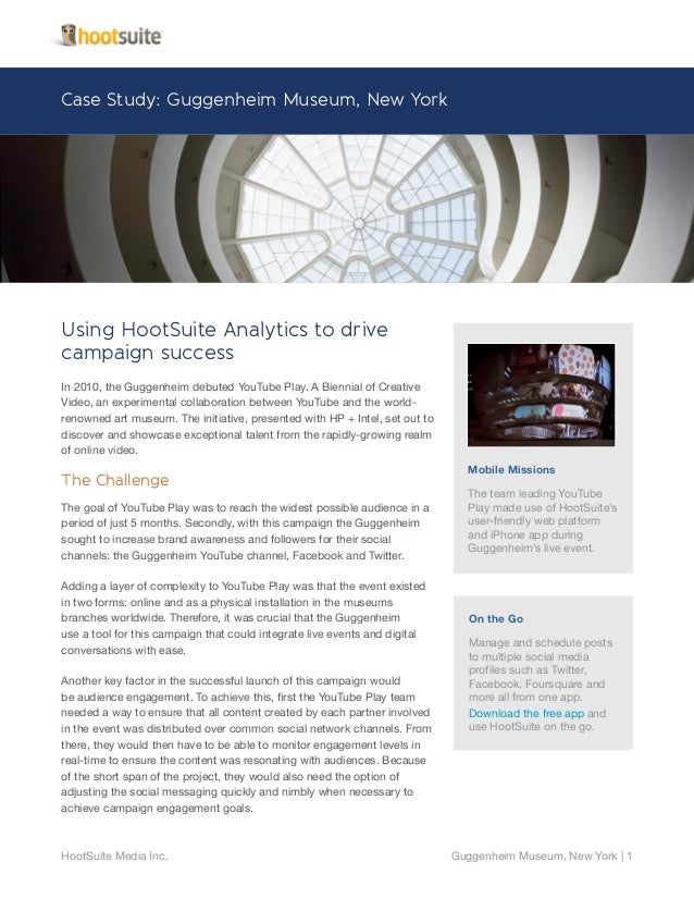 HootSuite Analytics to drive campaign success - Guggenheim Case Study