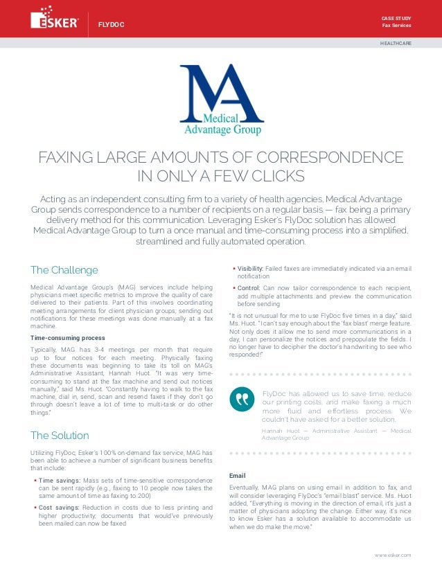 Case study Fax Services  flydoc  HEALTHCARE  FAxing large amounts of correspondence in only a few clicks Acting as an inde...