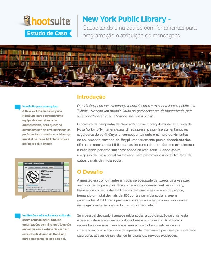HootSuite Case Study -  New York Public Library (Português/Portuguese)