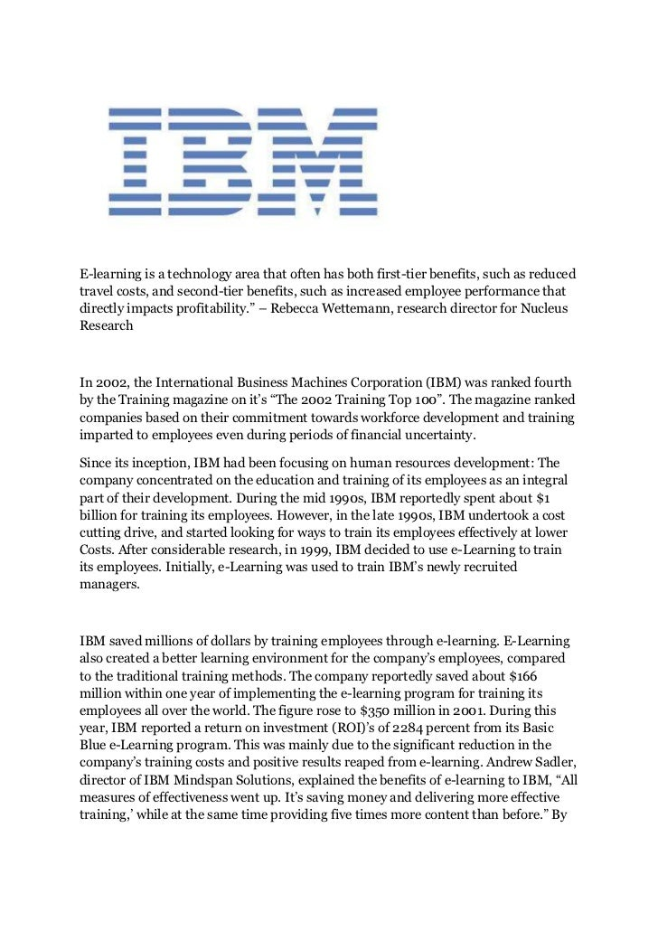 Case study of ibm employee training through e learning