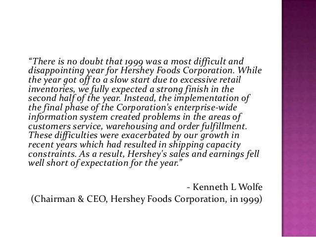 hershey food corporation case study Hershey foods corporation became the industry leader by the end of the 20 th century (www this maintains hershey's top position in the north american market according to their corporate website 2scom) this statement is further broken down into five categories to ensure leadership in the marketplace.