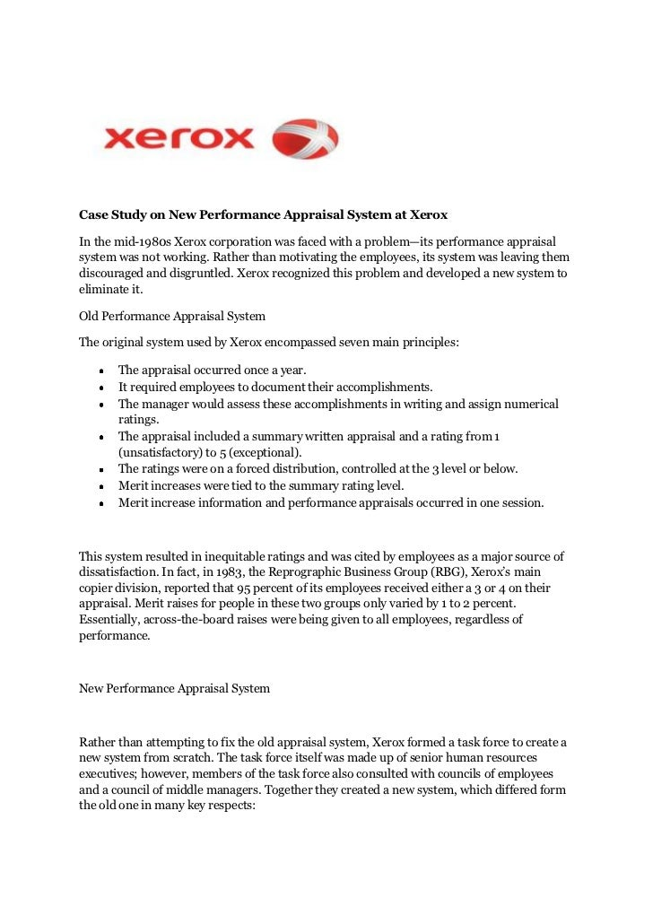Case study on new performance appraisal system at xerox