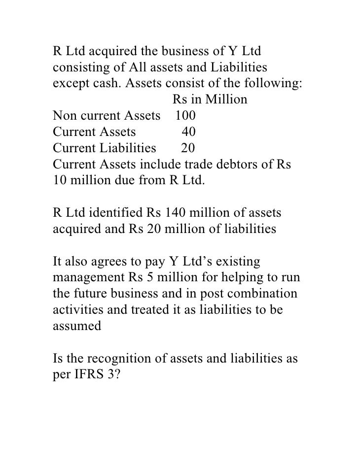 Case study on recognition of assets and liabilities 1