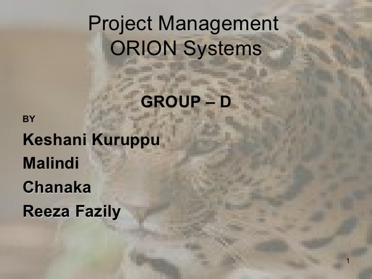 Project Management ORION Systems