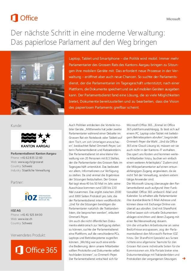 Case Study Office365 Parlamentsdienst Kanton Aargau