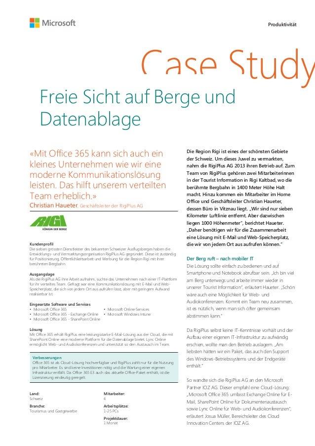 """Case Study: """"Freie Sicht auf Berge und Datenablage"""" - Office 365 für RigiPlus"""