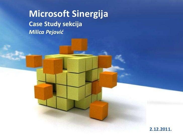 Microsoft SinergijaCase Study sekcijaMilica Pejović                 Free Powerpoint Templates   2.12.2011.1