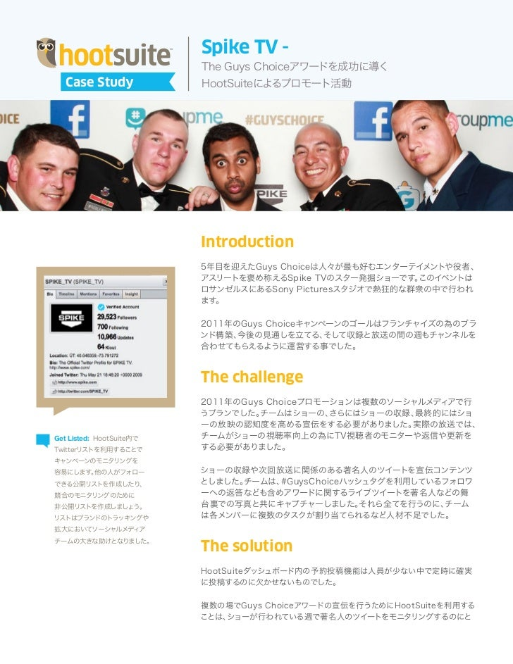 HootSuite and Spike TV ~ Running a Multi Stage Promotion (Japanese)