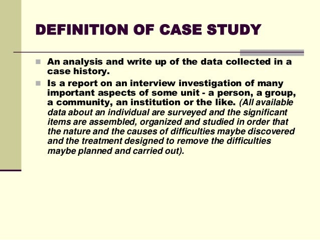 Guidelines to the writing of case studies