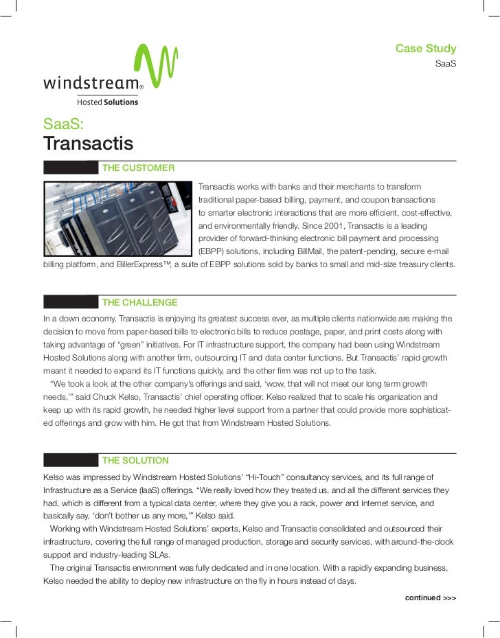 Case Study: Windstream Transactis