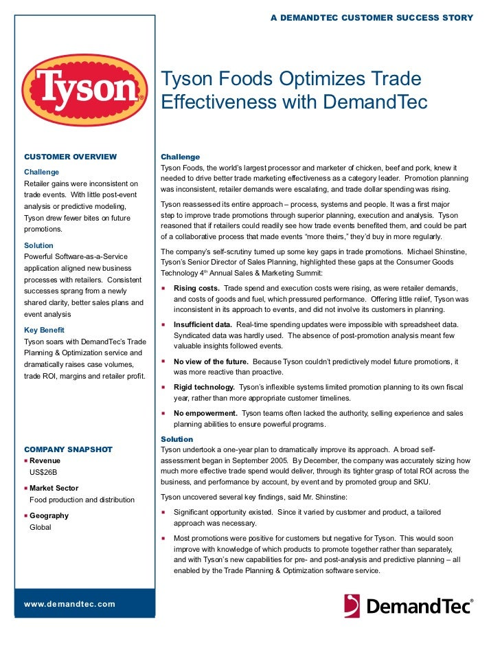 A DemAnDTeC CusTomer suCCess sTory                                          Tyson Foods Optimizes Trade                   ...