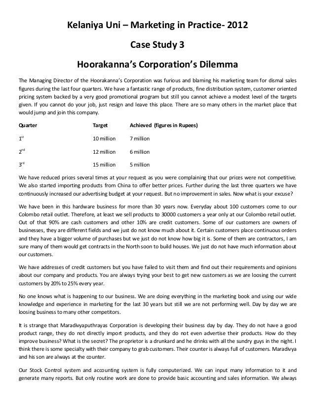 Kelaniya Uni – Marketing in Practice- 2012                                                Case Study 3                    ...