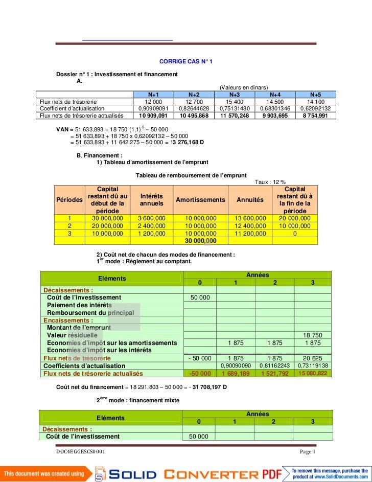 CORRIGE CAS N° 1      Dossier n° 1 : Investissement et financement           ...