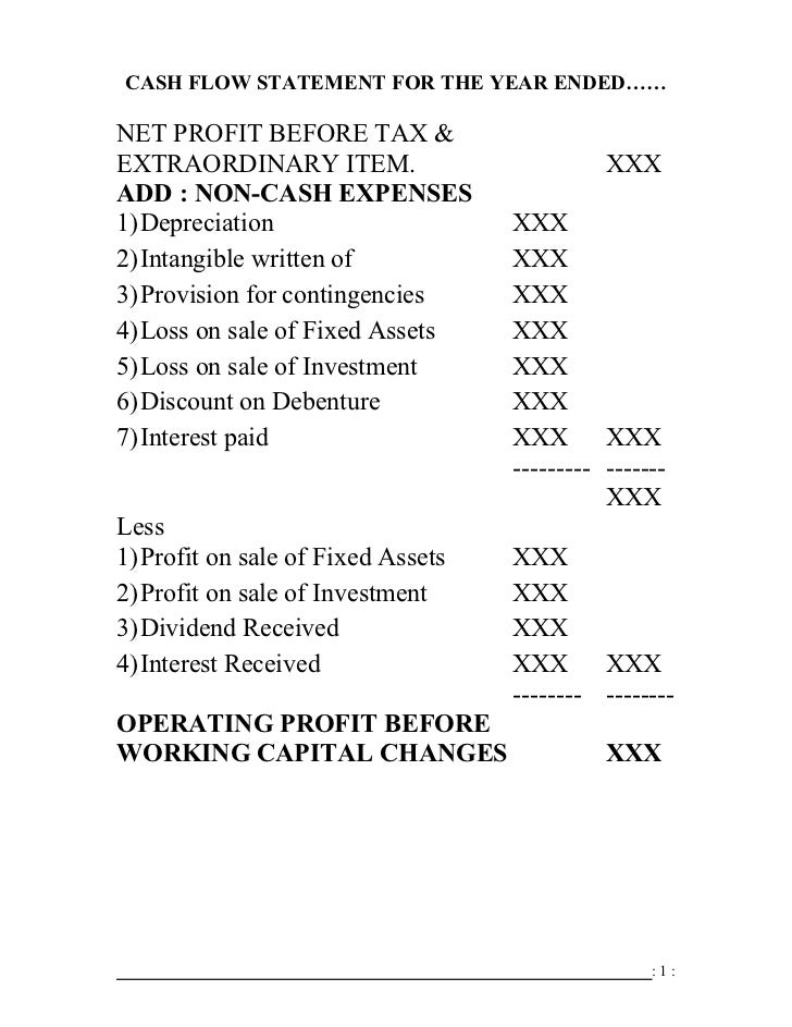CASH FLOW STATEMENT FOR THE YEAR ENDED……NET PROFIT BEFORE TAX &EXTRAORDINARY ITEM.                          XXXADD : NON-C...