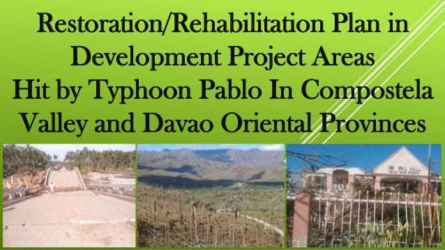 Restoration/Rehabilitation Plan in     Development Project AreasHit by Typhoon Pablo In CompostelaValley and Davao Orienta...