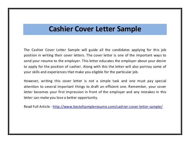 Cover Letter For Cashier Position With Experience] Cashier Cover