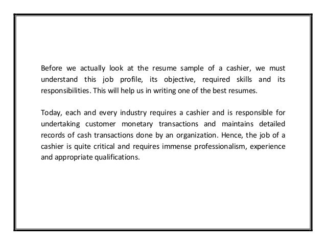 cashier resume sample resume sample of a cashier