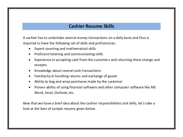 description of a cashier for resumes