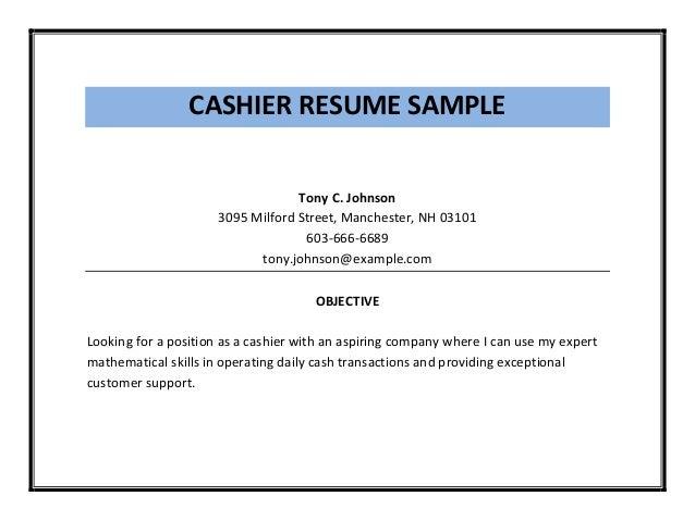 cashier job objective - Template