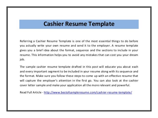 resume for cashiers sample resume for cashier cashier resume ...